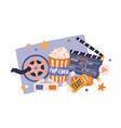 cinema items in retro style movie tickets film vector image