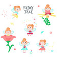 cute little fairy icon set isolated vector image vector image