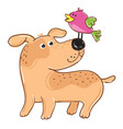 dog with bird cartoon character vector image vector image