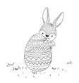 easter bunny behind easter egg in monochrome vector image
