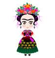 frida kokeshi doll style cartoon doll icon vector image