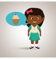girl cartoon cup cake vector image vector image