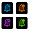glowing neon bell icon isolated on white vector image vector image
