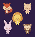 group of cute animals icons vector image vector image