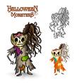 Halloween monsters scary cartoon rotten zombie vector image