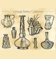 hand drawn collection of vintage perfume bottles vector image