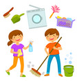 happy kids cleaning the house vector image vector image