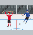 hockey players competition with uniform and vector image