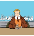 joyful retro man in a restaurant by the sea vector image vector image