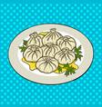 khinkali food pop art vector image vector image