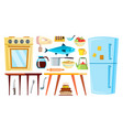 kitchen items refrigerator table food vector image