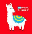 llama alpaca no drama sad face cute cartoon funny vector image vector image