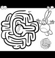 maze with rabbit coloring page vector image vector image