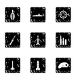 Military weapons icons set grunge style vector image vector image