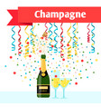 party with champagne serpentine and glasses vector image vector image