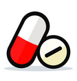 pills on white background vector image vector image