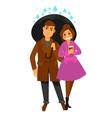 rain weather happy couple under umbrella vector image