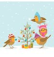 Robins and Christmas tree vector image