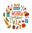 round shape concept with gardening tools seeds vector image