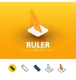 Ruler icon in different style vector image vector image