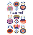 scandinavian flora banner with thanx message vector image vector image