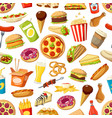 seamless pattern of fast food meals vector image vector image