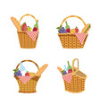 set hamper with food and tablecloth decoration vector image vector image