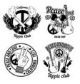 set hippie emblems vector image