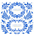 set with blue gzhel floral motif vector image
