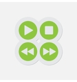 simple green icon - four music control buttons vector image