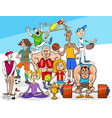sport disciplines and cartoon people group vector image