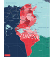 tunisia country detailed editable map vector image vector image