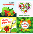 vegan day banner set cartoon style vector image