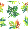 Watercolor maple leaves seamless pattern vector image