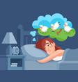 woman counts sheep to sleep insomnia cartoon vector image