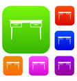 wooden table set color collection vector image vector image