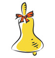 yellow brass bell with red bow on white background vector image vector image
