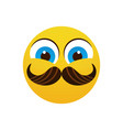 yellow smiling cartoon face wear mustache positive vector image