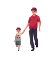 Young dad holding his little son hand and walking vector image