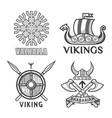 barbarian and ikings emblems vector image