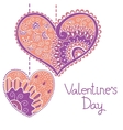 Decorative card with hearts for Valentine day vector image