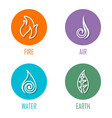 abstract four elements line symbols on circles vector image vector image