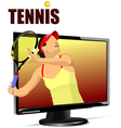 al 0839 monitor and tennis 01 vector image vector image