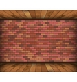 Background room with bricks and wooden floor vector image vector image