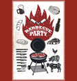 barbecue party flyer template grill fire grilled vector image vector image