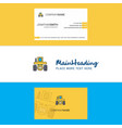 beautiful tractor logo and business card vertical vector image vector image
