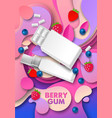 berry chewing gum ads pad vector image vector image