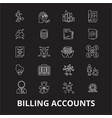 billing accounts editable line icons set on vector image