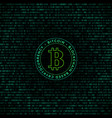 bitcoin symbol binary code background vector image vector image