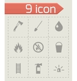 black firefighter icon set vector image